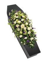 Purple and White Casket Spray.